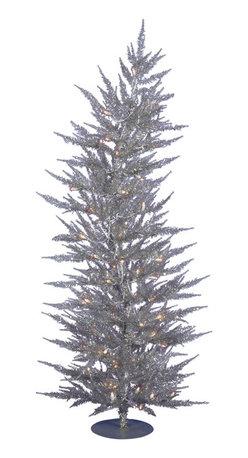 "Vickerman - Silver Laser Tree 70CL 608T (4' x 19"") - 4' x 19"" Silver Laser Tree 70 Clear Mini Lights 608 PVC tips, with metal base."