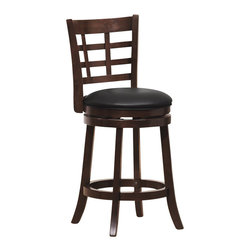Homelegance - Homelegance Edmond Swivel Counter Height Chair in Cherry (Set of 2) - Homelegance - Bar Stools - 1142E24S - Expanding the seating availability in your entertainment or dining space has become much less complicated with the Edmond Collection. Offered in a dark cherry finish with black bi-cast seats, the varied designs of the chair backs allow for placement in a multitude of design settings. From casual to formal, the 24 and 29 barstools offer the best selection out there.