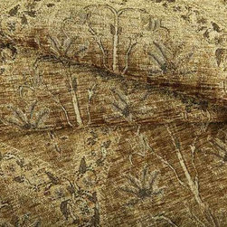 Royalist Chenille Upholstery Fabric in Oak - Royalist Chenille Upholstery Fabric in Oak has a taupe hue with relief textured floral pattern that is slightly rustic. Whimsical and romantic, this unique upholstery brings an antique feel to upholstery projects. Made in Belgium from a blend of 64% rayon and 36% polyester. Cleaning code: S. Repeat: 17″V 9″H; Width: 54″.