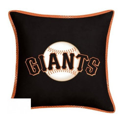 Sports Coverage - MLB San Francisco Giants Sidelines Toss Pillow - Make that new officially licensed MLB San Francisco Giants Sidelines Toss Pillow look as good as it feels. A must have for any true fan. A New Design - Same great quality!! Coordinating Toss pillow to match jersey material logo Comforter. Pillow is 17 x 17, 100% Polyester Cover and Fill. SIDELINES is trimmed in teams secondary color. 100% Polyester Jersey. Spot Clean only.