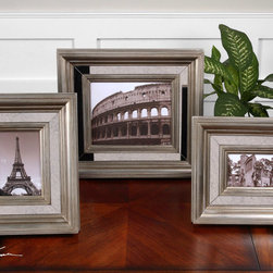 Hasana, Photo Frames, S/3 - Antiqued mirror center panels surrounded by antiqued silver frames. Holds photo Sizes: 4×6, 5×7, 8×10.