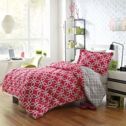 E & E Co., Ltd/ Import Div. - Micro Splendor Quinn Reversible Comforter Set - The Quinn comforter set pops with color and style, featuring a geometric pink and white design that reverses to grey and white. Down alternative filling and diamond quilting give this comforter added dimension and warmth.