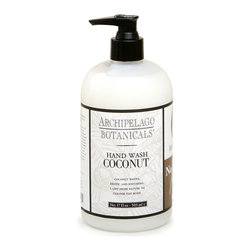 Coconut Hand Wash - Lime and verbena notes bring out the tropical life of coconut's indescribably creamy aroma, while the natural botanicals and jojoba esters blended into Coconut Hand Wash's recipe give your hands a refreshed feeling and a youthful appearance. Perfect beside the kitchen sink, this pump bottle will also find a pleasing place on your vanity.