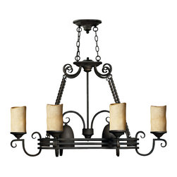 Hinkley Lighting - Casa Pot Rack 6-Light Chandelier - Forged Iron Strength in Design for your own casa. Comes in Olde Black finish. Takes 8 75 Watt Medium Bulbs.