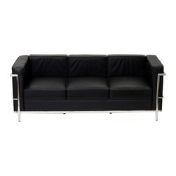 Modway Imports - Modway EEI-128-BLK Charles Petite Leather Sofa In Black - Modway EEI-128-BLK Charles Petite Leather Sofa In Black