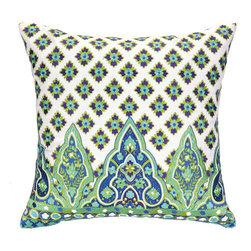 "Peking Handicraft Inc. - Nanette Lepore Moraccan Border Aqua Embroidered Pillow 20"" x 20"" - ""DF 20X20"""" 100% RAMIE"""
