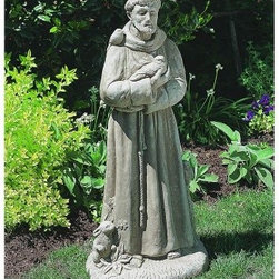 St Francis with Animals Garden Statue - This St. Francis with Animals statue is the ideal item for the animal lover in your family. With its 36 inch height, it will fit most garden areas without being overwhelming. The details are a result of creating an image in the likeness of this most favored of saints. This sculpture's charismatic pull is a result of the sculptor's ability to display St. Francis's calming caress and the love the animals showed him in return. The statue is made of an extremely durable cast stone and has an applied finish that replicates the softened effects of time and theyther. The finishes are available in a variety of colors.You'll love the tender presence of the 36 inch St. Francis with Animals in your garden.About Campania InternationalEstablished in 1984, Campania International's reputation has been built on quality original products and service. Originally selling terra cotta planters, Campania soon began to research and develop the design and manufacture of cast stone garden planters and ornaments. Campania is also an importer and wholesaler of garden products, including polyethylene, terra cotta, glazed pottery, cast iron, and fiberglass planters as well as classic garden structures, fountains, and cast resin statuary.Campania Cast Stone: The ProcessThe creation of Campania's cast stone pieces begins and ends by hand. From the creation of an original design, making of a mold, pouring the cast stone, application of the patina to the final packing of an order, the process is both technical and artistic. As many as 30 pairs of hands are involved in the creation of each Campania piece in a labor intensive 15 step process.The process begins either with the creation of an original copyrighted design by Campania's artisans or an antique original. Antique originals will often require some restoration work, which is also done in-house by expert craftsmen. Campania's mold making department will then begin a multi-step process to create a production mold which will properly replicate the detail and texture of the original piece. Depending on its size and complexity, a mold can take as long as three months to complete. Campania creates in excess of 700 molds per year.After a mold is completed, it is moved to the production area where a team individually hand pours the liquid cast stone mixture into the mold and employs special techniques to remove air bubbles. Campania carefully monitors the PSI of every piece. PSI (pounds per square inch) measures the strength of every piece to ensure durability. The PSI of Campania pieces is currently engineered at approximately 7500 for optimum strength. Each piece is air-dried and then de-molded by hand. After an internal quality check, pieces are sent to a finishing department where seams are ground and any air holes caused by the pouring process are filled and smoothed. Pieces are then placed on a pallet for stocking in the warehouse.All Campania pieces are produced and stocked in natural cast stone. When a customer's order is placed, pieces are pulled and unless a piece is requested in natural cast stone, it is finished in a unique patinas. All patinas are applied by hand in a multi-step process; some patinas require three separate color applications. A finisher's skill in applying the patina and wiping away any excess to highlight detail requires not only technical skill, but also true artistic sensibility. Every Campania piece becomes a unique and original work of garden art as a result.After the patina is dry, the piece is then quality inspected. All pieces of a customer's order are batched and checked for completeness. A two-person packing team will then pack the order by hand into gaylord boxes on pallets. The packing material used is excelsior, a natural wood product that has no chemical additives and may be recycled as display material, repacking customer orders, mulch,or even bedding for animals. This exhaustive process ensures that Campania will remain a popular and beloved choice when it comes to garden decor.Please note this product does not ship to Pennsylvania.