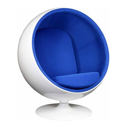 MODERN BALL SHAPED BLUE LOUNGE CHAIR INSPIRED BY EERO AARNIO DESIGN - MODERN BALL SHAPED BLUE LOUNGE CHAIR INSPIRED BY EERO AARNIO DESIGN