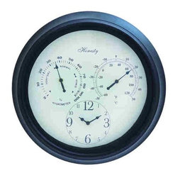 """Metal Outdoor Clock 35431 - Metal Outdoor Clock features black metal round frame with hygrometer, thermometer, and clock. 14"""" in diameter"""