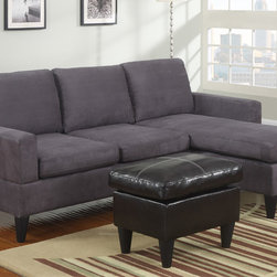 Modern Small Gray Microfiber Sectional Sofa Reversible Chaise Ottoman - Crafted with clean lines and a strong design, this all-in-one sectional features comfort seating and back cushions for attractive simplicity. Select from a microfiber, faux leather or a combination of the two fabrics for a modern living space motif. It also includes an espresso colored faux leather ottoman for maximum style. Available in a variety of colors.