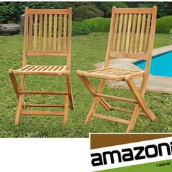 Amazonia - Terra Teak Dining Side Chairs (Set of 2) - Make a stylish statement on the patio,deck,or porch with this teak wood dining chair pair. This set of two chairs is crafted from long-lasting and durable teak and is resistant to the elements to provide you with years of comfortable outdoor seating.