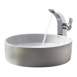 Kraus - Kraus C-KCV-140-14700CH White Round Ceramic Sink and Illusio Faucet - Add a touch of elegance to your bathroom with a ceramic sink combo from Kraus