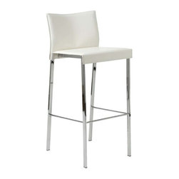 Eurostyle - Eurostyle Riley-B Leather Bar Chair w/ Chromed Steel Base in White [Set of 2] - Leather Bar Chair w/ Chromed Steel Base in White belongs to Riley Collection by Eurostyle The Riley-B Bar Stool is chic and oh so stylish! The perfect addition to any bar or high table, the Riley-B Bar Stool provides a comfortable seat and a great modern look. This modern bar stool features a seat and back covered completely in leather availale in your choice of color, each of which is perfectly complemented by a chromed footrest. The Riley-B Bar Stool offers exceptional style and quality, and is suitable for commercial use. Bar Chair (2)
