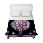 DiaNoche Designs - Purple Tree Duvet Cover - Lightweight and super soft brushed twill duvet cover sizes twin, queen, king. Cotton poly blend. Ties in each corner to secure insert. Blanket insert or comforter slides comfortably into duvet cover with zipper closure to hold blanket inside. Blanket not included. Dye Sublimation printing adheres the ink to the material for long life and durability. Printed top, khaki colored bottom. Machine washable. Product may vary slightly from image.