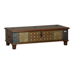Moroccan Brass Inlay & Reclaimed Wood Storage Trunk Chest -