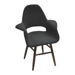Lemoderno - Fine Mod Imports  Eero Dining Chair, Gray - The Eero Dining chair is a upholstered molded plywood seating shell atop four legs and its a reproduction of a well known modern design dining chair. Walnut Wood Color Legs    Assembly Required