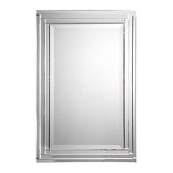 "Uttermost Alanna Frameless Vanity Mirror - Constructed of stepped bevel mirrors with polished edges. This frameless mirror is constructed of stepped, bevel mirrors with polished edges for a smooth, clean finish. Center mirror has a generous 1 1/4"" bevel. May be hung either horizontal or vertical."