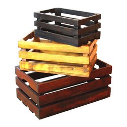 Decorative Old Colored Wooden Crates Set of 3 - These handmade crates are a great accent to your home decor, use it as a night stand for your books and clothes.