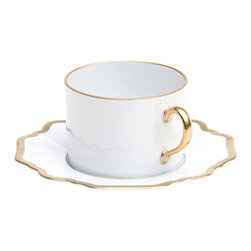 Anna Weatherley - Antique-Style White and Gold Tea Cup and Saucer - Defined by graceful silhouettes and hand-painted gold rims, this cup and saucer from Anna Weatherly adds a charming element to the table. Pair with more lavish pieces from Anna's assortment, or more simple accessories for an understated elegance.