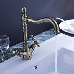 Kitchen Sink Faucets - Antique Inspired Solid Brass Kitchen Faucet (Antique Brass Finish)--FaucetSuperDeal.com