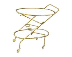 Vintage French Brass Bamboo Style Bar Cart - Dimensions 18.0ʺW × 30.0ʺD × 32.0ʺH