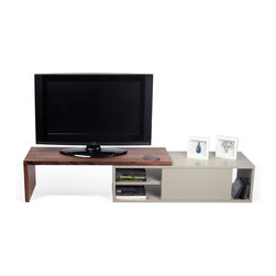 Temahome - Move Tv Table - The Move is a flexible, low profile tv cabinet with a sliding top that can be pushed and swung out to occupy only the space you want to occupy.  Also features a sliding door to cover up any accessories and AV equipment you may want to hide.