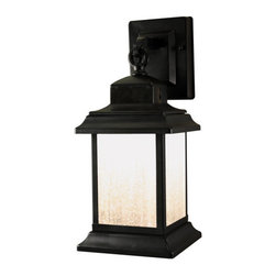 Heath Zenith - Heath Zenith SL-4540-BK 1 Light 180 Degree Motion Activated LED Decorative Secur - Heath Zenith SL-4540-BK 1 Light 180 Degree Motion Activated LED Decorative Security Wall Sconce, BlackCombining rustic styling with state of the art technology, the SL-4540 from Heath Zenith features cutting edge LED motion light technology. The energy saving LED module is controlled by a 180 degree integrated motion sensor as well as patented DualBrite technology that creates ambient light that kicks up to full brightness when motion is detected. This light has metal construction and seeded glass for the perfect aesthetic appearance.Heath Zenith SL-4540-BK Features:
