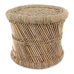 Pfeifer Studio - Woven Indian Mooda Stool, 17.5'' X 12'' - The mooda is a traditional low stool handmade in India from the Sarkanda plant. The frame is created with the stalks of the plant which are aligned in a criss-cross construction and tied along the spine. Jeverdi, a twisted rope used to secure stools and weave the seat, is created from the plant's leafy covering, known as moonj grass. They are extremely lightweight and surprisingly durable.