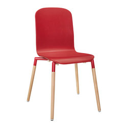 Modway - Stack Wood Dining Chair EEI-1054 Red - Acquaint yourself with an intelligent piece concealed behind sheer simplicity. Stack exhibits fluid lines and an organic form in a seamless transition from the abstract to the definite. Made from a painted durable steel top and solid beech wood legs, Stack coalesces both form and purpose in a harmoniously designed piece that matches well in any uncomplicated decor.