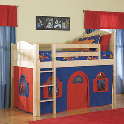 None - Natural Low-Loft Twin Bed with Bottom Playhouse Curtain and Ladder - Give your child the room of their dreams with this fun playhouse bed. This natural wood low-loft bed features a ladder and bright colored playhouse curtain for hours of imaginative enjoyment.