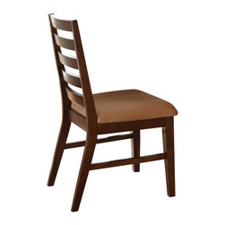 """Steve Silver Furniture - Steve Silver Eden Ladderback Side Chair in Dark Cherry (Set of 2) - The Eden Dining collection is designed for those striving for simplicity with style! The Eden side chair features a dark cherry finish, tapered slat back and a comfy upholstered seat in a beige microfiber. Measuring 20""""W x 23""""D x 38""""H with an 18"""" seat height, the side chair is the perfect match for the Eden Dining Table."""