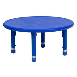 Flash Furniture - Flash Furniture 33 Inch Round Height Adjustable Blue Plastic Activity Table - Kids activity tables are excellent for early childhood development. The primary colors make learning and play time exciting when several colors are arranged in the classroom. This durable table features a plastic top with steel welding underneath along with adjustable steel legs that is sure to last throughout the years. [YU-YCX-007-2-ROUND-TBL-BLUE-GG]
