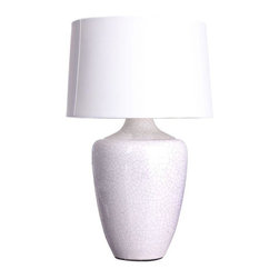 """Pre-owned White Crackle Finish """"Snap"""" Lamp - Substantial and modern, this """"Snap"""" lamp will spiff up any lonely surface in a jiffy with its crackled, bright-as-fresh-snow white finish. Multiple quantities available- please contact Chairish Customer Support with inquiries. Shade is not included."""