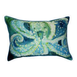 Betsy Drake - Betsy Drake Octopus Pillow- Indoor/Outdoor - Octopus Pillow- Large indoor/outdoor pillow. These versatile pillows are equal at enhancing your homes seaside decor and adding coastal charm to an outdoor setting arrangment. They feature printed outdoor, fade resistant fabric for years of wear and enjoyment. Solid back, polyfill. Proudly made in the USA.