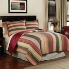 "Pem America  Inc. - Perry Stripe Quilt - This multi-colored, yarn-dye quilt adds comfort to your bed and style to your decor. The spicy earthtone shades are enhanced by the .5"" channel quilting, which lends added durability to the attractive, pre-washed quilt."