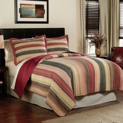 """Pem America, Inc. - Perry Stripe Quilt - This multi-colored, yarn-dye quilt adds comfort to your bed and style to your decor. The spicy earthtone shades are enhanced by the .5"""" channel quilting, which lends added durability to the attractive, pre-washed quilt."""