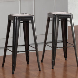 None - Tabouret 30-inch Charcoal Grey Metal Bar Stools (Set of 2) - These contemporary metal Tabouret bar stools feature a durable powder coated finish. The stools also feature non-marking foot glides and the stools are stackable for easy storage.