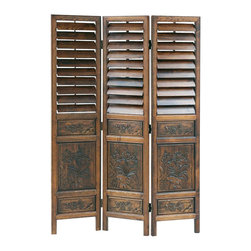 Wayborn - Wayborn Chinese Oakwood Louver Room Divider in Walnut - Wayborn - Room Dividers - 2317 -