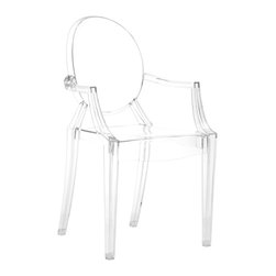 "Zuo Modern - Anime Transparent Acrylic Dining Chair Set of 4 - The Anime features all the iconic elements of a Louis XV-style armchair - a medallion back, curved arms and tapered legs - but in a modern transparent acrylic finish. In the kitchen, dining room or office, this nouveau classic brings a touch of whimsy to any table or desk. Sold as set of 4; Molded polycarbonate; UV resistant; Stackable for easy storage; Includes two year commercial grade warranty against cracking and fading; Overall: 20""W x 36.5""H; Seat: 17""W x 16""D x 18""H"