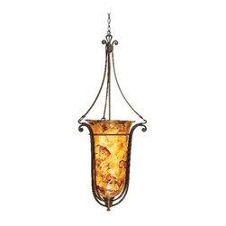 Kalco Lighting - Somerset Tortoise Shell Foyer Pendant - -Penshell Glass Kalco Lighting - 4960TO-PENSH
