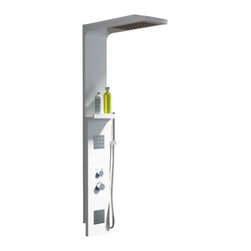 ADM - ADM Matte White Stone Resin Shower Panel - Here's a real tower of power for your shower. It's a command central panel made of sleek and modern manufactured stone resin. In addition to the overhead shower, it features two body washers, a built-in shelf and a handheld wash wand.