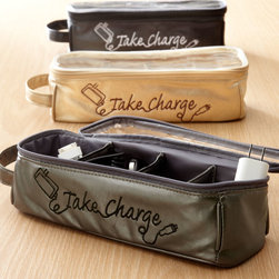 "Horchow - Charger & Cord Case - Charger & Cord CaseHighlightsTired of electronics cords getting tangled or lost in totes or luggage or at home? This ""Take Charge"" charger organizer lets you keep chargers in individual compartments for easy access. Imported.Made of polyurethane textured to look like leather.Polyester lining.Select color when ordering.10.5""W x 4""D x 3""T."