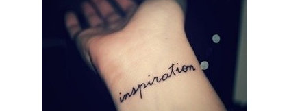 wrist tattoo with text, 'inspiration' by Judith Taylor Designs
