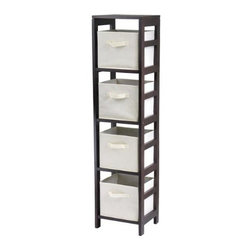 Winsome Wood - Capri N-Storage Shelf with 4 Fabric Baskets, Beige - Our Capri N-Storage Shelf comes with 4 foldable biege fabric baskets. Warm Walnut finish storage shelf is perfect for any room in your home. Use it alone as bookcase/shelf or with baskets for a complete storage function.