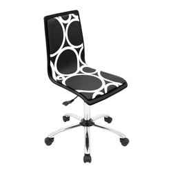 "Lumisource - Printed Office Chair, Black Circles - 23"" L x 23"" W x 34 - 38.5"" H"