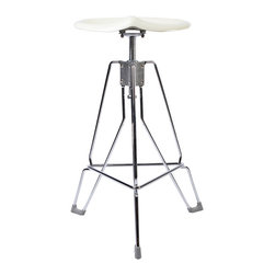 "Dulton - Dulton Barstool ""Clipper"", Ivory - The Dulton's clipper bar stool has a adjustable and ergonomics seating pad. Its unique tractor seat pad is calling for a industrial age. Rubbered feet triangulate structure is extremely steady. Perfect for heavy duty bar use."