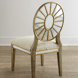 John-Richard Collection Lela Eglomise Side Chair - Dining chairs from the John-Richard Collection are handcrafted of acacia wood with a gilded pewter finish, polyester/acrylic upholstery, and gilded eglomise glass. Chair backs have a wheel design on the reverse