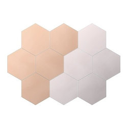 Julia Treutiger - Hönefoss Mirror - This pack of 10 hexagonal mirror tiles is such a great deal. Lay out a few to create the perfect reflective tray for your small space decor.