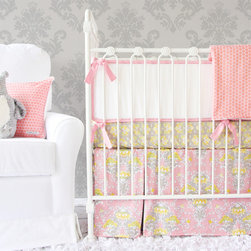 Caden Lane - Amy's Garden Flat Panel Skirt Crib Bedding, 2pc Set - Subtle, sophisticated and sweet are what comes to mind when you see Amy's Garden baby bedding from Caden Lane! A beautiful mix of pinks, peach, gray, and soft yellow are blended together in an elegant, paneled skirt.