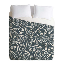 DENY Designs - DENY Designs Heather Dutton Night Owl Duvet Cover - Lightweight - Turn your basic, boring down comforter into the super stylish focal point of your bedroom. Our Lightweight Duvet is made from an ultra soft, lightweight woven polyester, ivory-colored top with a 100% polyester, ivory-colored bottom. They include a hidden zipper with interior corner ties to secure your comforter. It is comfy, fade-resistant, machine washable and custom printed for each and every customer. If you're looking for a heavier duvet option, be sure to check out our Luxe Duvets!
